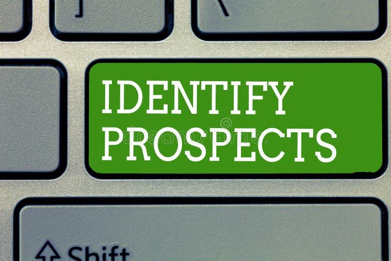 El texto de la escritura de la palabra identifica perspectivas Concepto del negocio para los donantes anticipados del cliente ide fotografía de archivo libre de regalías