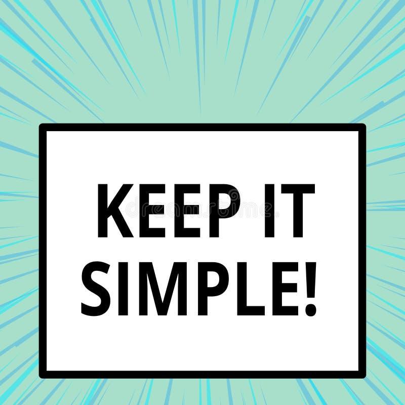 El texto de la escritura de la palabra lo mantiene simple El concepto del negocio para pide algo fácil entiende para no entrar de ilustración del vector