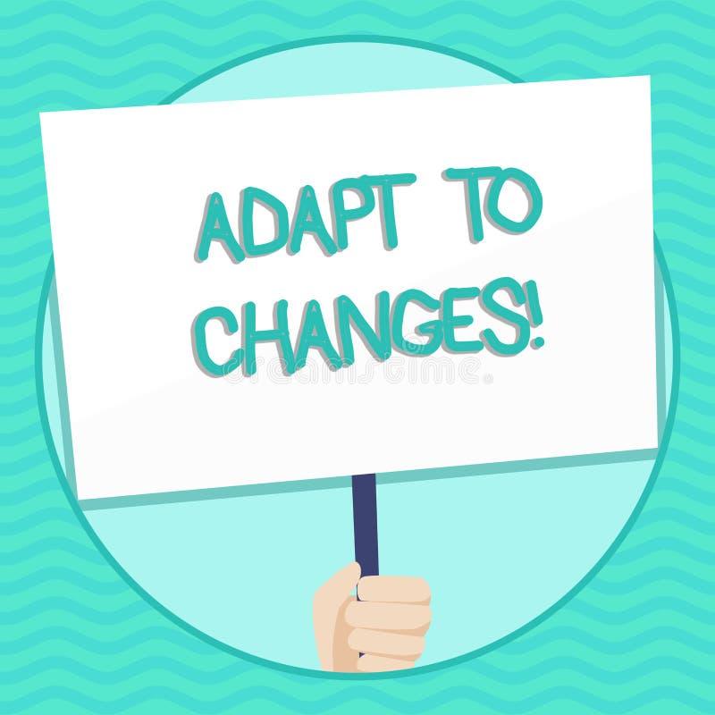 El texto de la escritura de la palabra se adapta a los cambios Concepto del negocio para la adaptación innovadora de los cambios  stock de ilustración