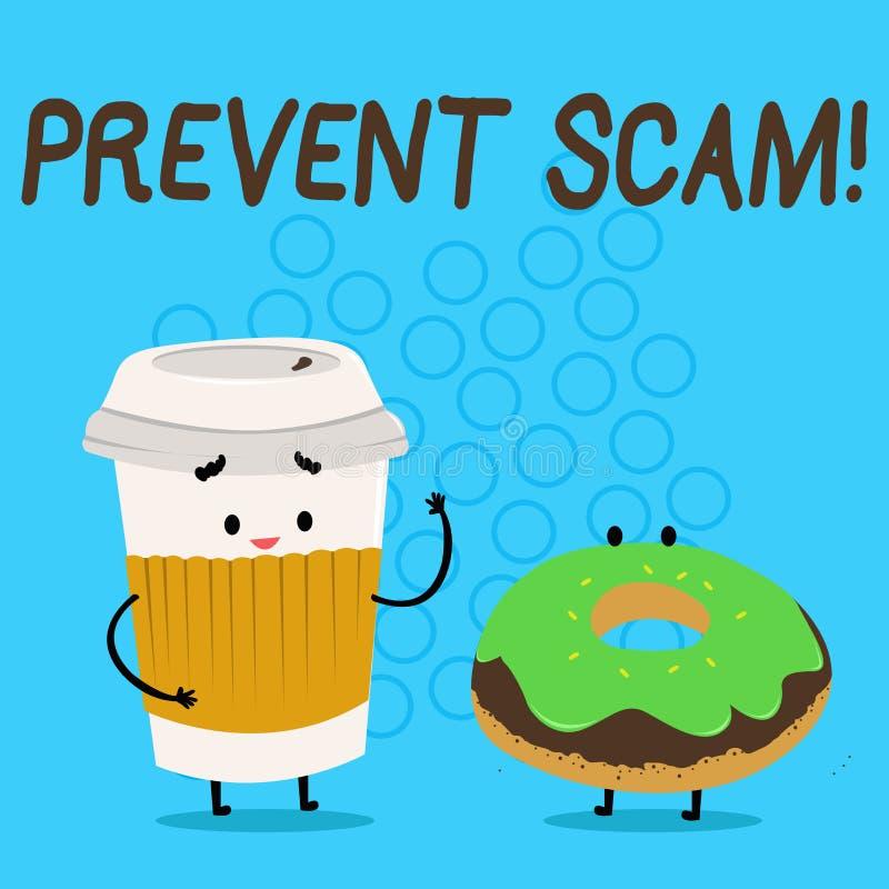 El texto de la escritura previene Scam Transacciones fraudulentas Carry Out Paper Cup de la protección al consumidor del signific libre illustration