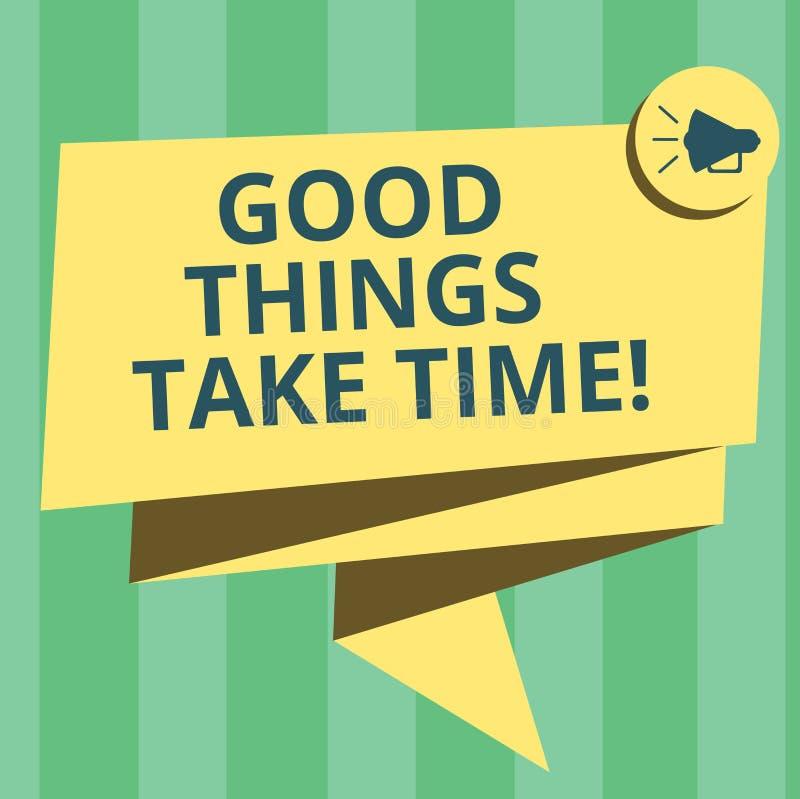 El texto de la escritura que escribe buenas cosas toma tiempo El significado del concepto sea paciente y motivado para lograr sus stock de ilustración
