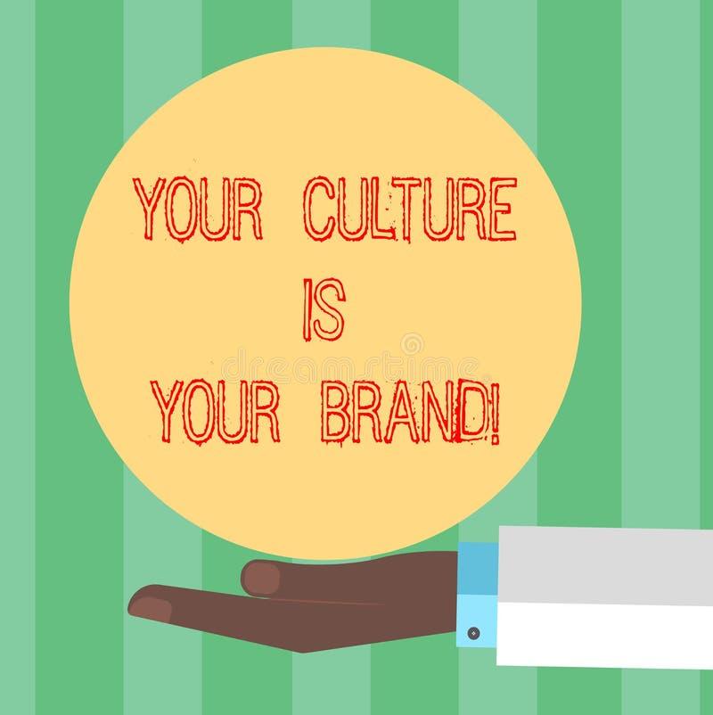 El texto de la escritura que escribe su cultura es su marca E stock de ilustración