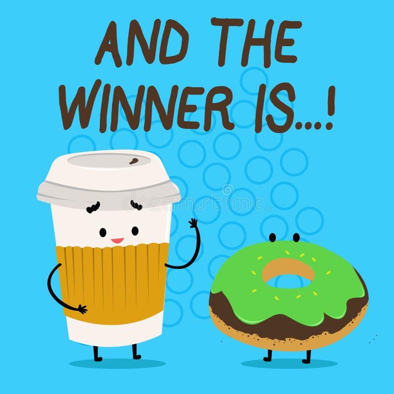 El texto de la escritura y el ganador es Concepto que significa la anunciación que consiguió el primer lugar en la competencia o  libre illustration