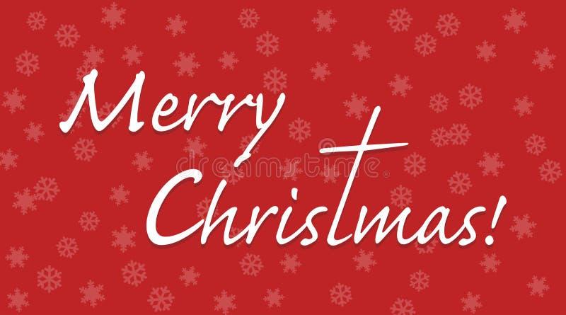 El texto de la Feliz Navidad con la letra t extendió a una cruz stock de ilustración
