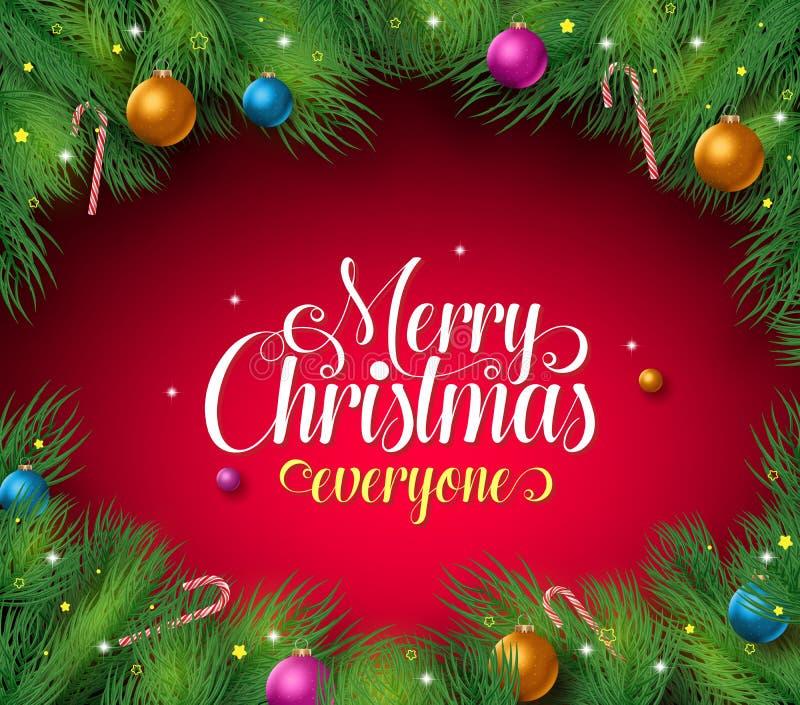 El texto de la Feliz Navidad en un fondo rojo con el pino sale del huésped y del marco libre illustration