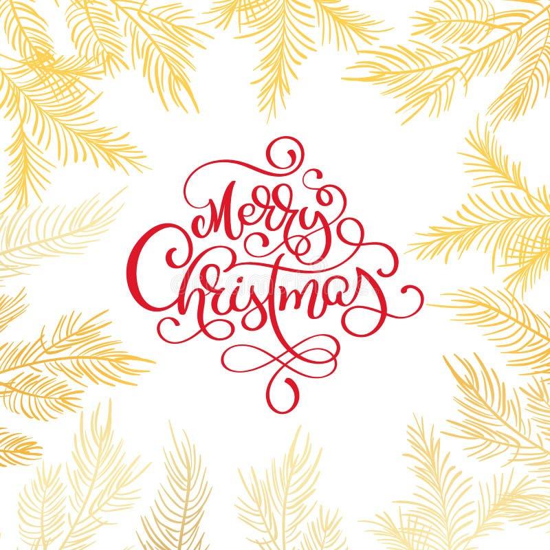 El texto de la Feliz Navidad y el árbol de abeto confinan el ejemplo del vector El cedro realista ramifica, marco aislado en blan stock de ilustración