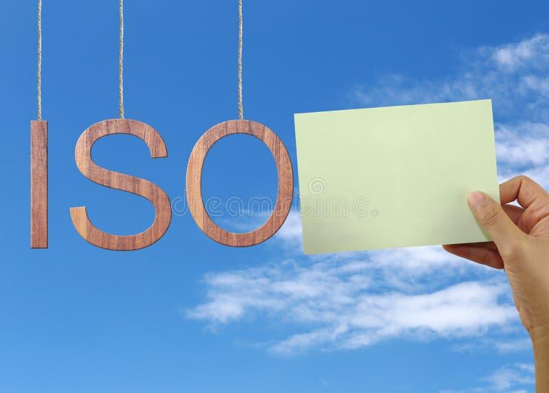 El texto de madera del ISO representa la organización internacional para Standa imágenes de archivo libres de regalías