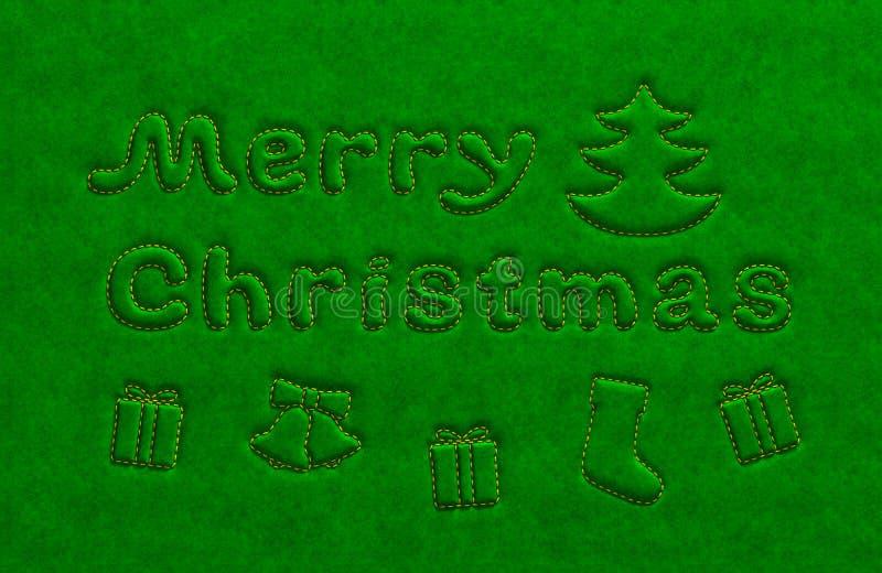El texto de oro y las cualidades de la Feliz Navidad en el terciopelo verde emergen ilustración del vector
