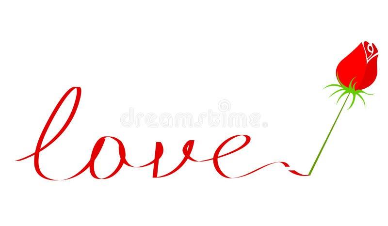 El texto del amor con se levantó libre illustration