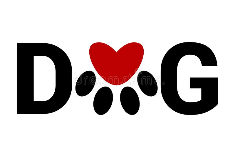 El texto del perro negro con la impresión animal de la pata en lugar de otro letra o Huella del animal doméstico en perro de la p stock de ilustración