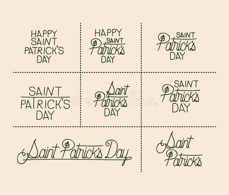 El texto feliz de la etiqueta engomada del día de los patricks del santo fijó en silueta del color verde libre illustration