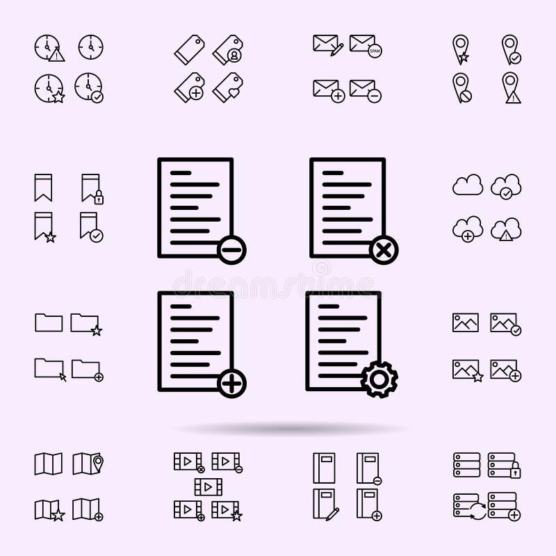 el texto, lista, quita, suprime, más, los ajustes firma el icono sistema universal de los iconos del web para el web y el m libre illustration