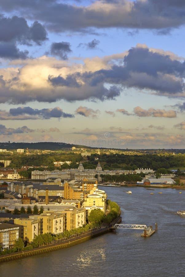 El Thames cerca de Greenwich imagen de archivo