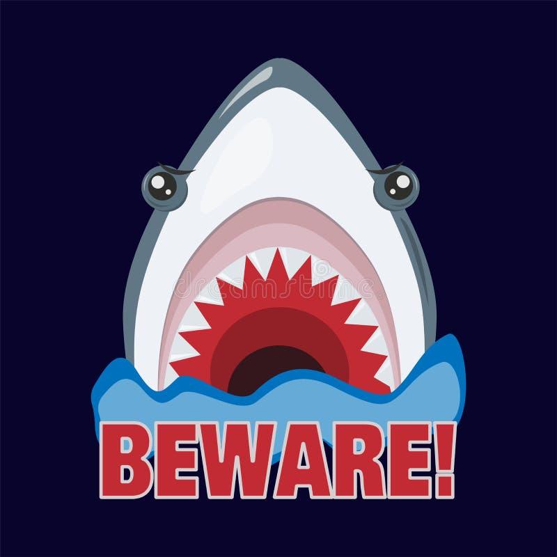 El tiburón amenaza atacar Dientes agudos Ilustraci?n del vector stock de ilustración