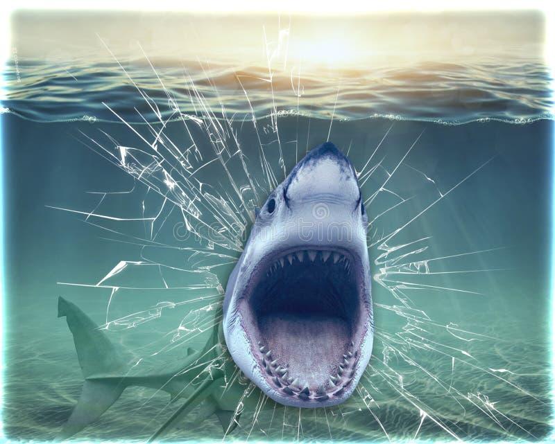 El tiburón de los papeles pintados rompió el acuario y salta de él representación 3d imágenes de archivo libres de regalías