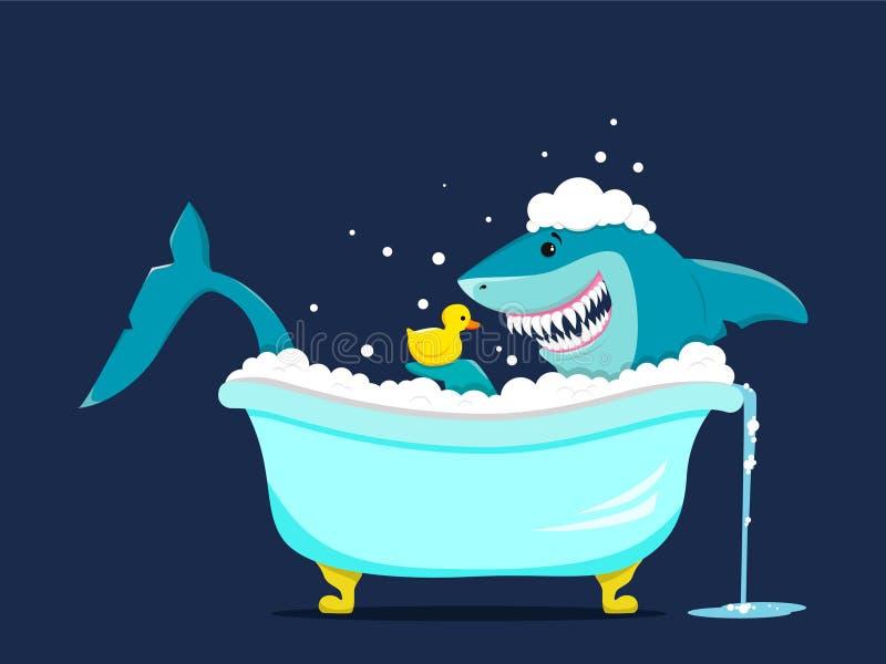 El tiburón divertido toma un baño con un juguete del pato stock de ilustración
