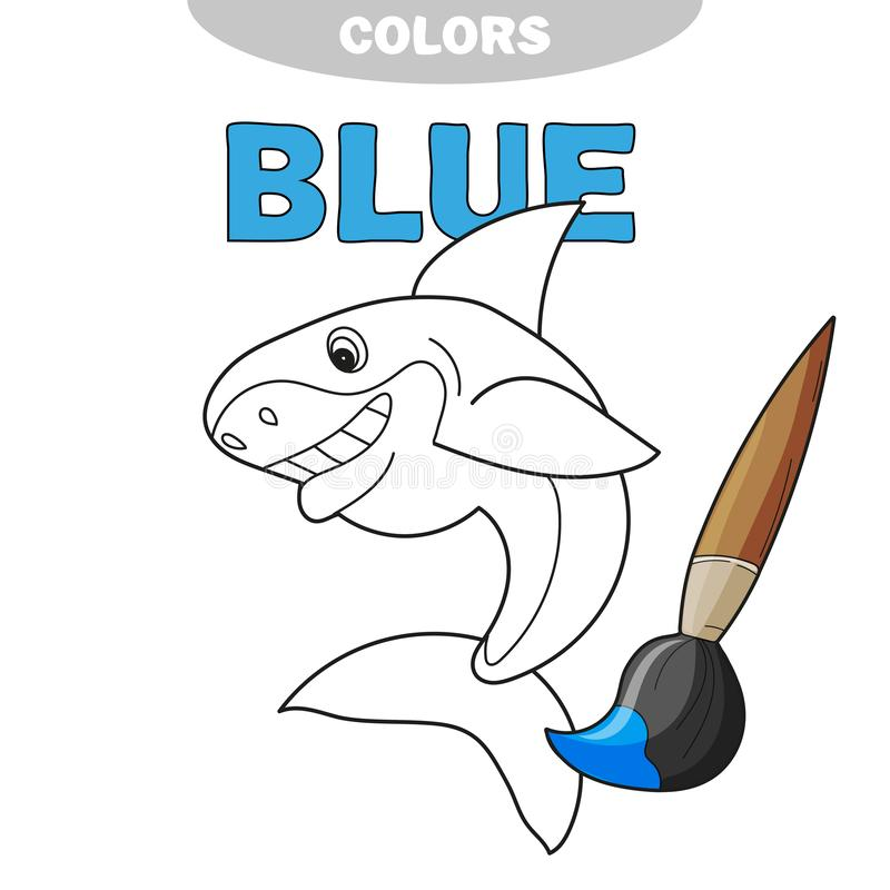 El tiburón sonriente de la clase alegre amistosa - página de un colorante libre illustration