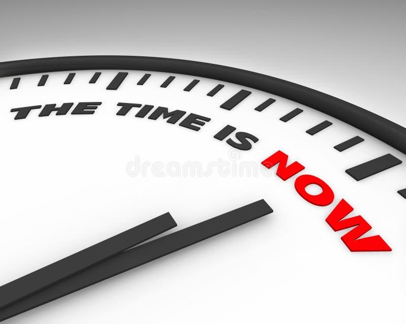 El tiempo ahora es - reloj ilustración del vector