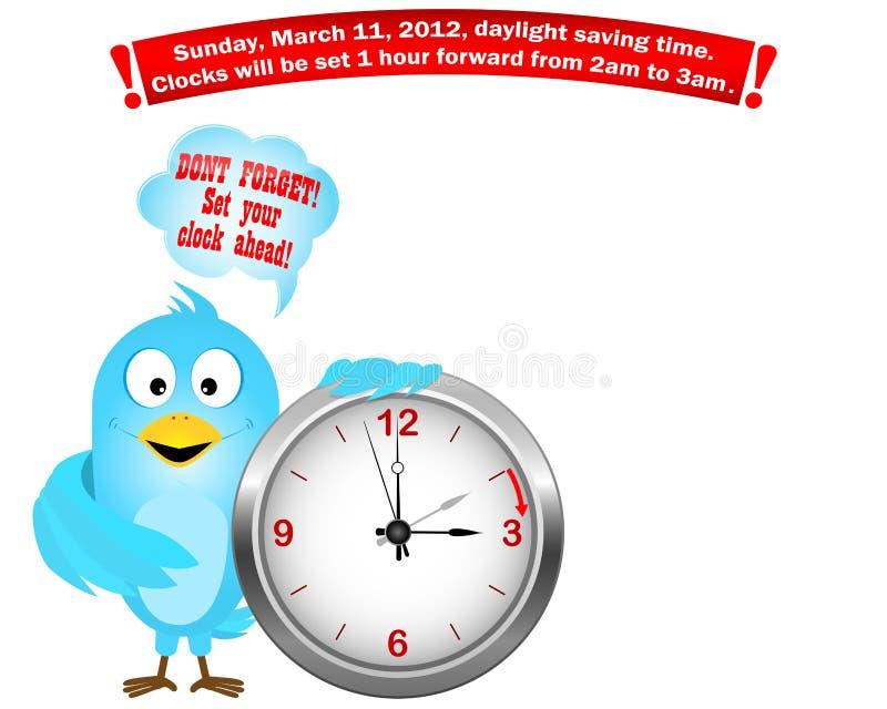 El tiempo de ahorro de hora solar comienza. Pájaro azul. stock de ilustración