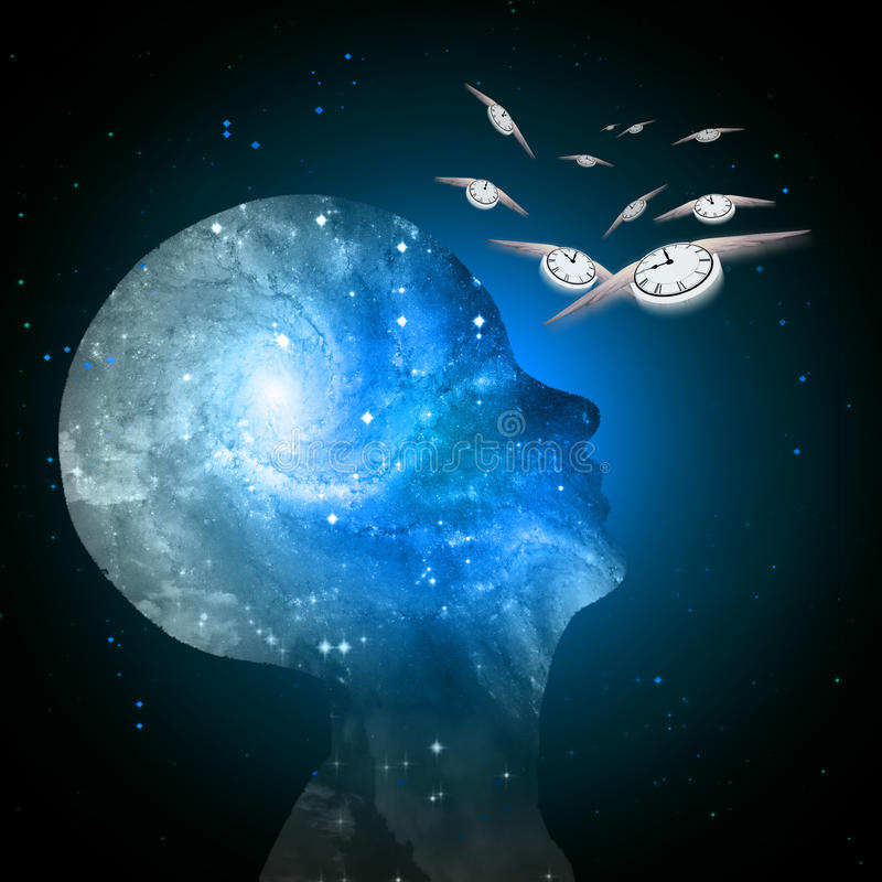 El tiempo de la mente de la galaxia vuela stock de ilustración