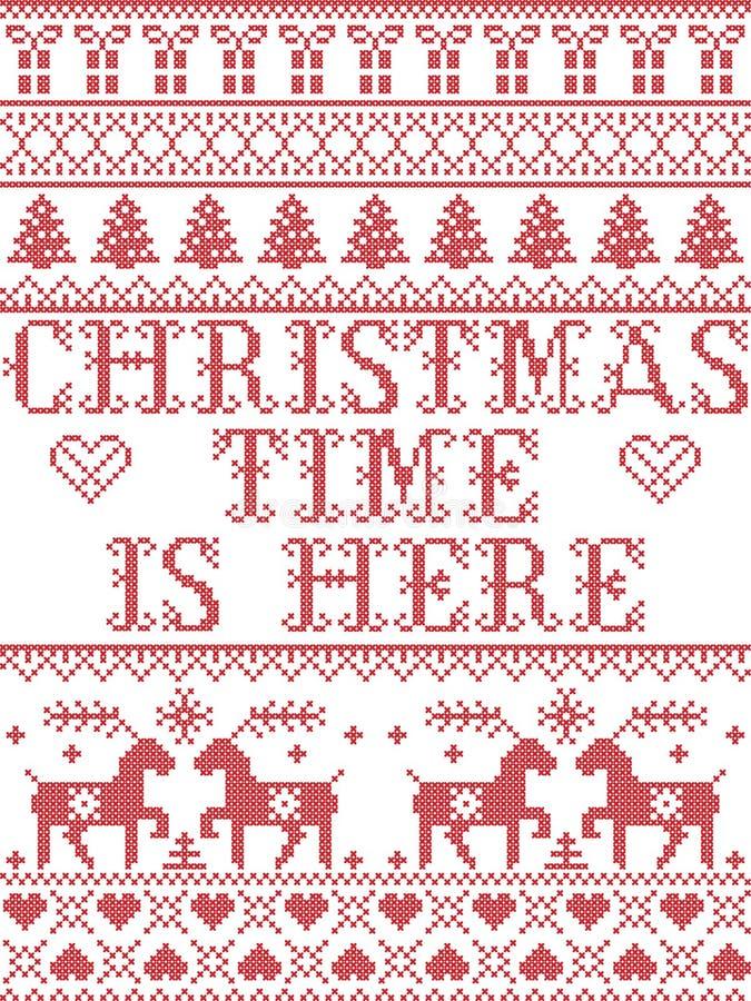 El tiempo de la Navidad del modelo de la Navidad está aquí modelo inconsútil del villancico inspirado por invierno festivo de la  stock de ilustración