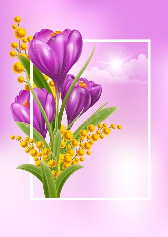 El tiempo de primavera… subió las hojas, fondo natural stock de ilustración