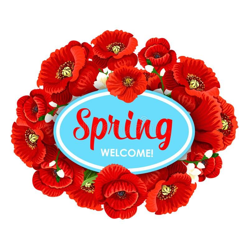 El tiempo de primavera agradable del vector florece el cartel del saludo stock de ilustración