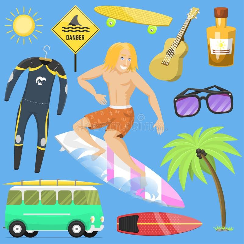 El tiempo de verano activo de la persona que practica surf del deporte acuático que practica surf vara actividades libre illustration