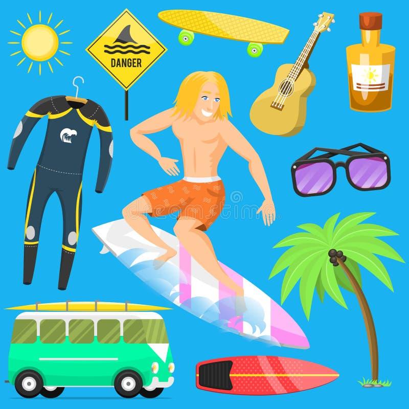 El tiempo de verano activo de la persona que practica surf del deporte acuático que practica surf vara vector kitesurfing wakeboa ilustración del vector
