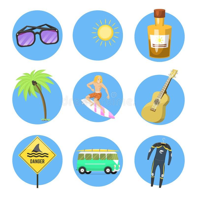 El tiempo de verano activo de la persona que practica surf del deporte acuático que practica surf vara vector kitesurfing wakeboa libre illustration