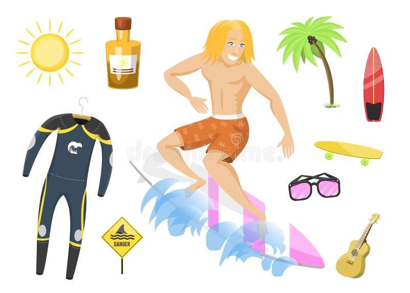 El tiempo de verano activo de la persona que practica surf del deporte acuático que practica surf vara vector kitesurfing wakeboa stock de ilustración