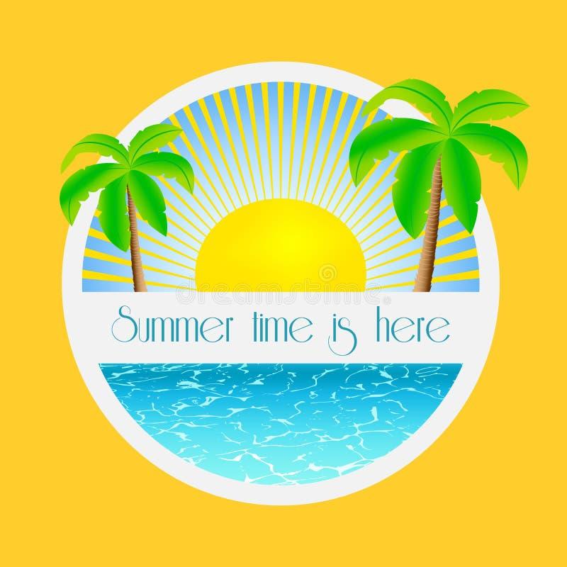 El tiempo de verano está aquí - ejemplo con las palmeras y salida del sol sobre la agua de mar stock de ilustración