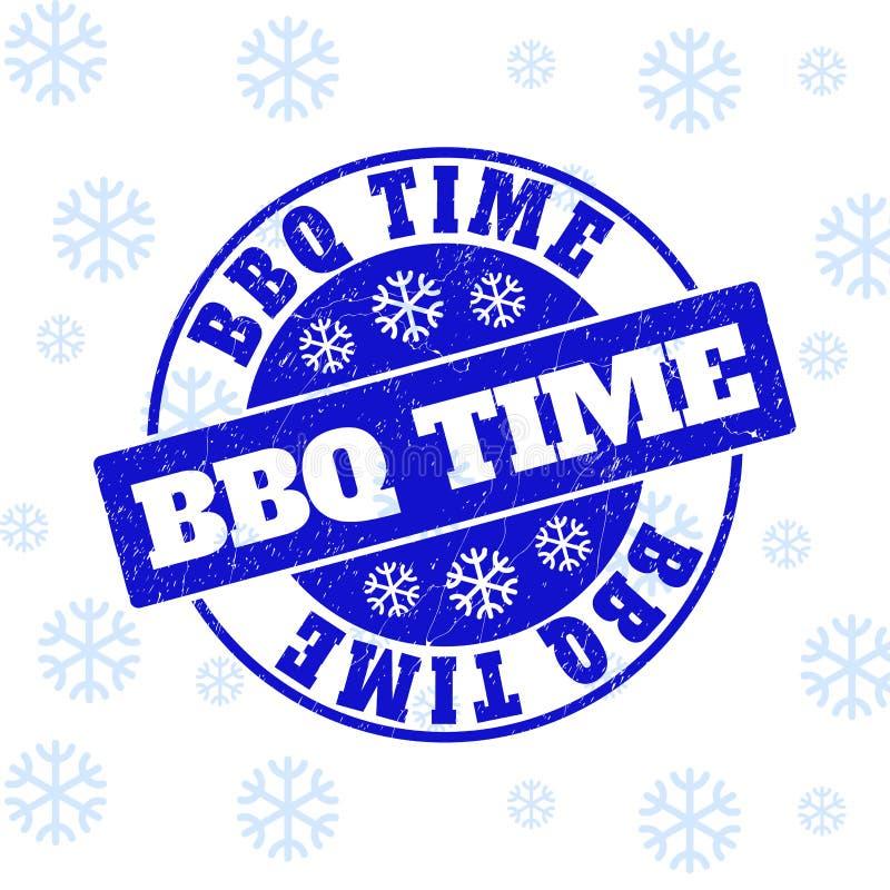 El tiempo del Bbq rasguñó el sello redondo del sello para la Navidad stock de ilustración