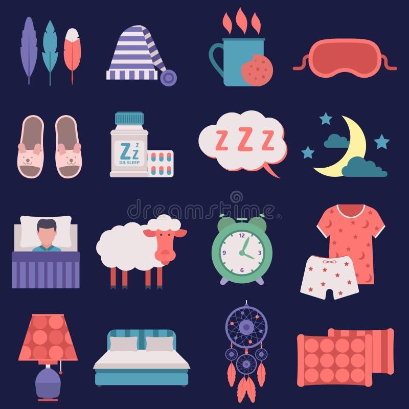 El tiempo del nignt del vector del sueño relacionó la relajación humana fijada los iconos del lecho del parador de los iconos del ilustración del vector