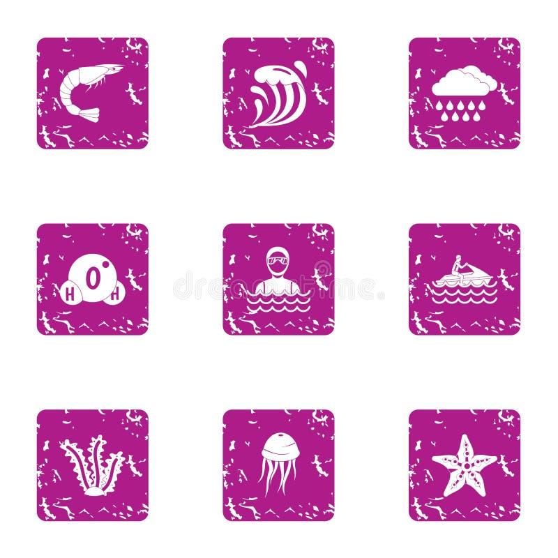 El tiempo en los iconos del mar fijó, estilo del grunge ilustración del vector