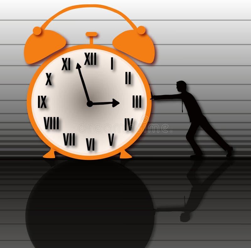 El tiempo es lento y taladro stock de ilustración