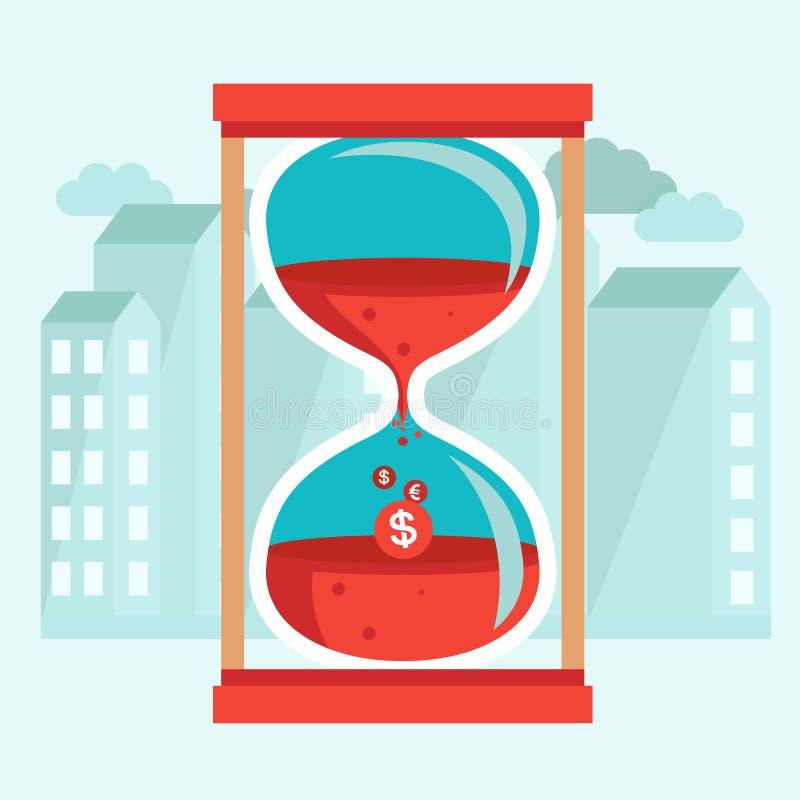 El tiempo es oro - concepto en estilo plano ilustración del vector