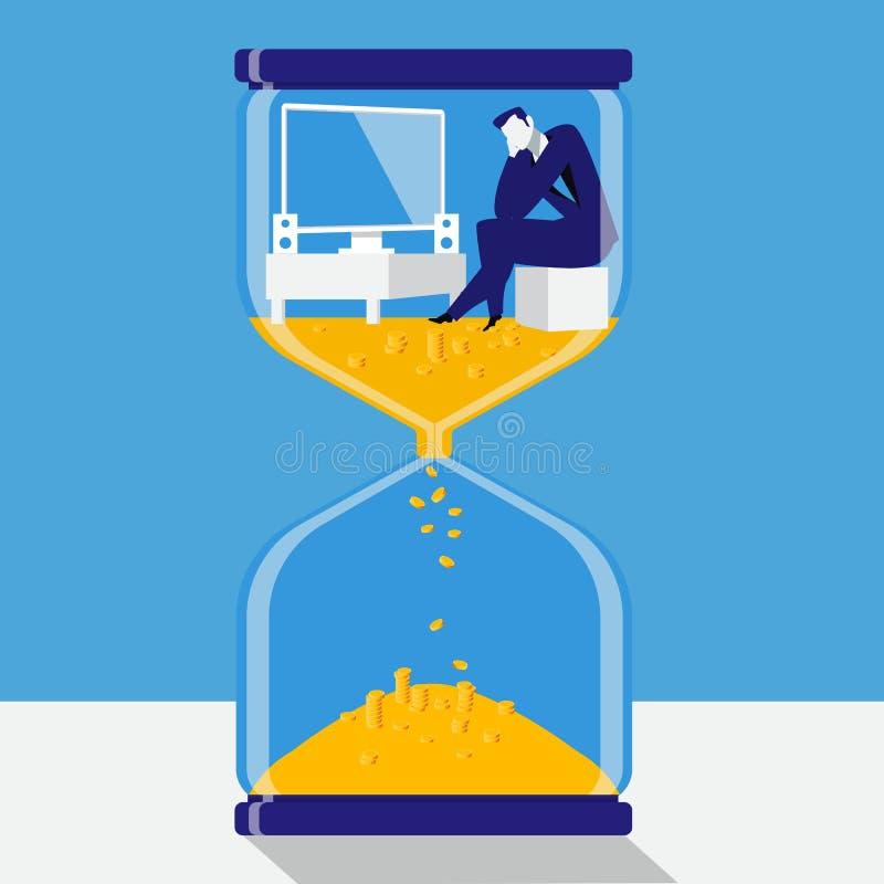 El tiempo es oro ejemplo del vector del concepto en estilo plano stock de ilustración