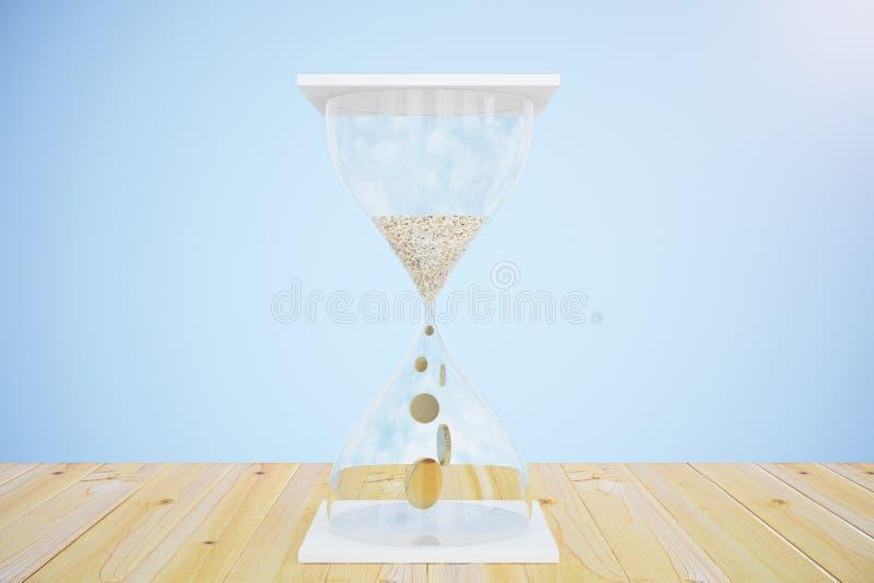 El tiempo es oro el concepto con con reloj de arena y las monedas en lugar de otro enarenan stock de ilustración
