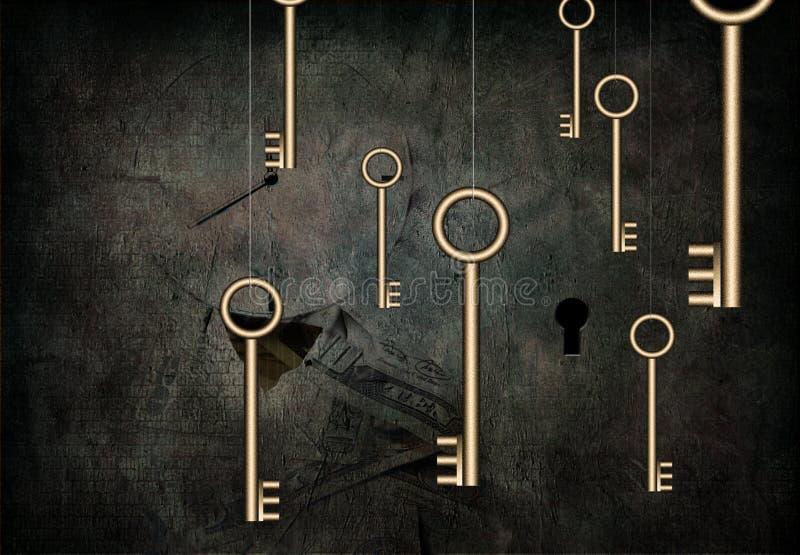 El tiempo es oro está el clave ilustración del vector