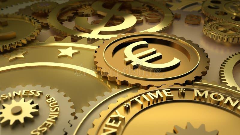 El tiempo es oro. puntos culminantes euro del dinero en circulación. ilustración del vector