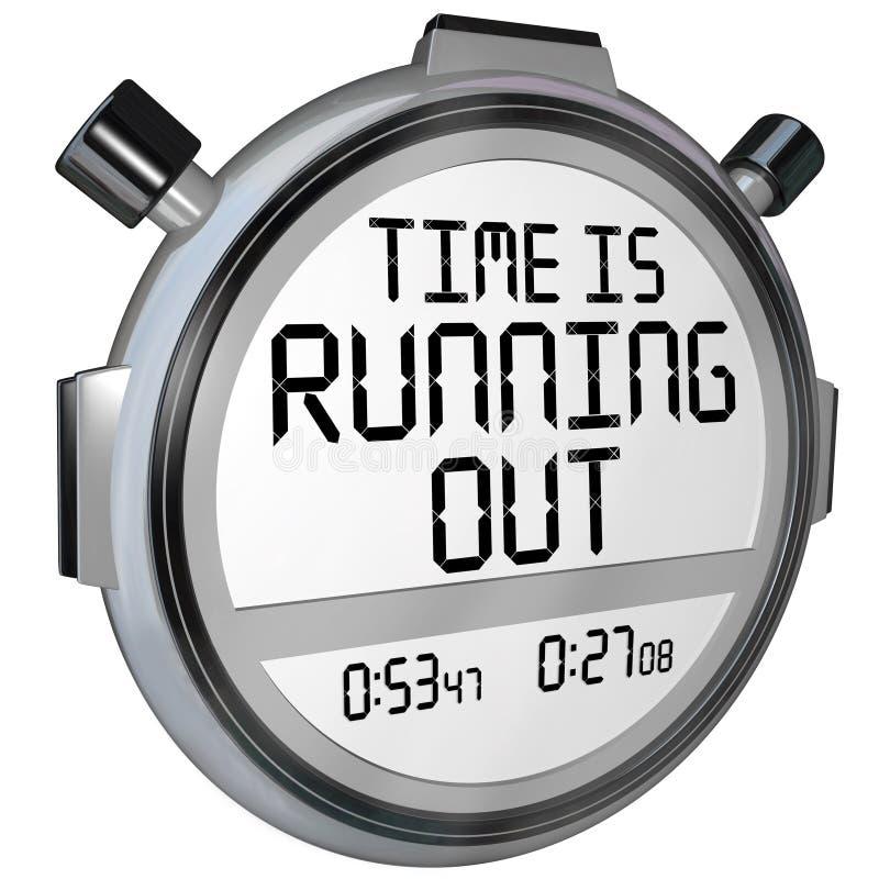 El tiempo está funcionando con hacia fuera el reloj del contador de tiempo del cronómetro ilustración del vector