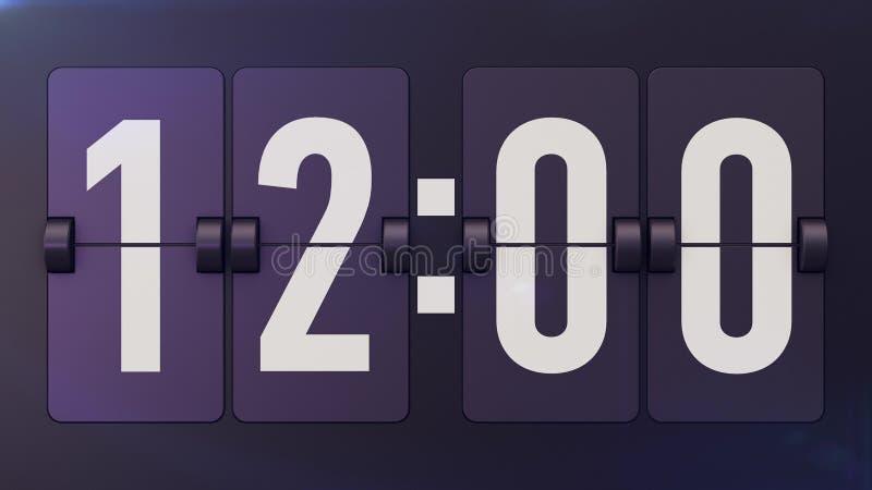 El tiempo pasado de moda Flipclock muestra 12: 00 stock de ilustración