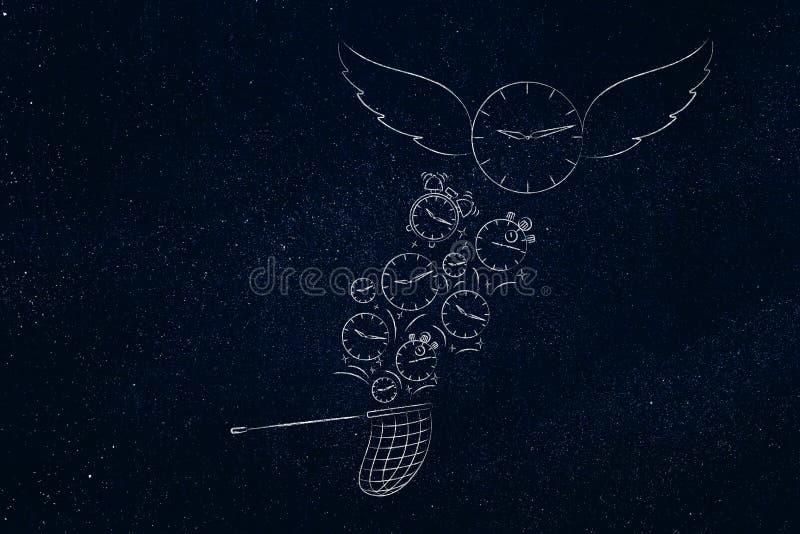 El tiempo vuela los relojes catched por la red de la mariposa mientras que una con ilustración del vector