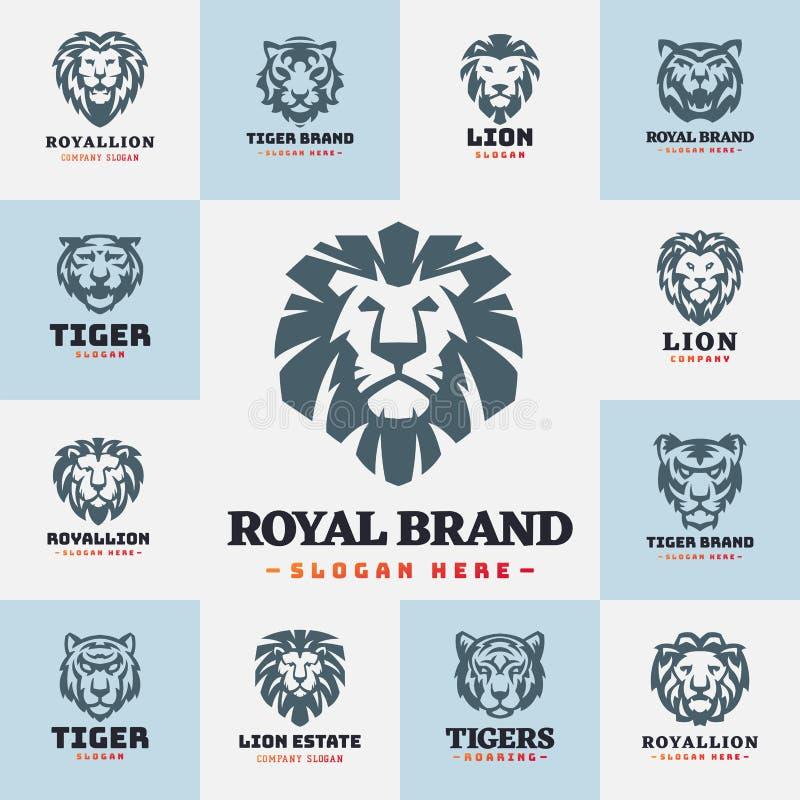 El tigre y los leones hacen frente al ejemplo salvaje del vector del poder despredador de la fuerza de la insignia del logotipo ilustración del vector