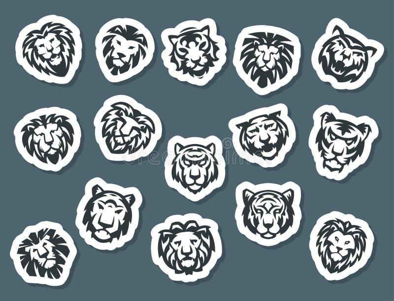 El tigre y los leones hacen frente al ejemplo salvaje del vector del poder despredador de la fuerza de la insignia del logotipo libre illustration