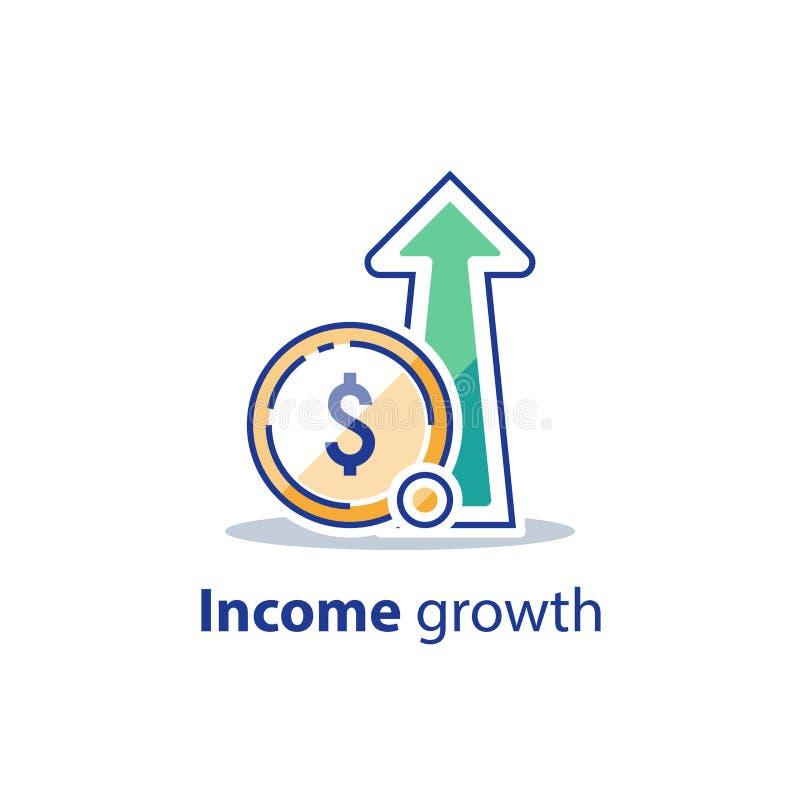 El tipo de inter?s alto, largo plazo que invierte la estrategia, crecimiento de la renta, impulsa los ingresos del negocio, obten stock de ilustración