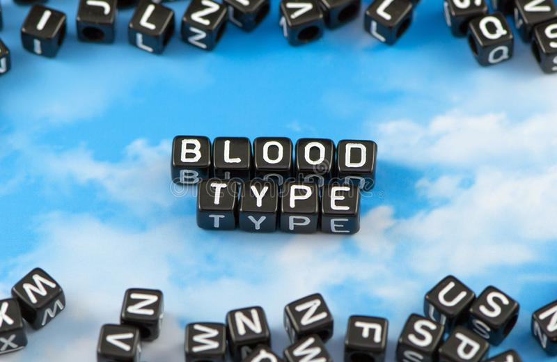 El tipo de sangre de la palabra fotografía de archivo libre de regalías