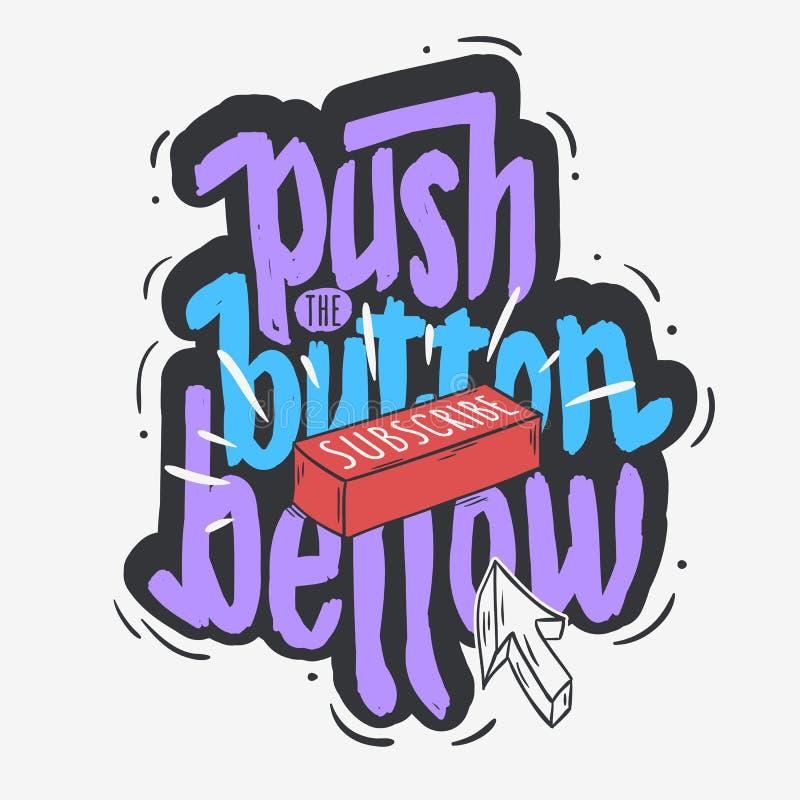 El tipo exhausto diseño del estilo de la historieta mano social video del blog de Vlog de la medios de letras suscribe el botón y stock de ilustración