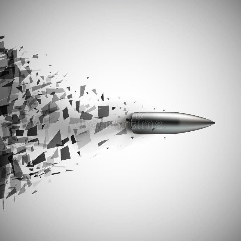 El tiro de la bala rompió el vidrio ilustración del vector
